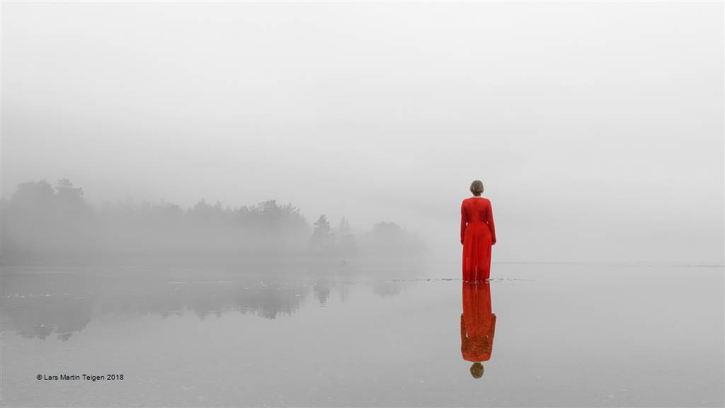 Lars Martin Teigen – Red Dress in Foggy Water – Open Colour