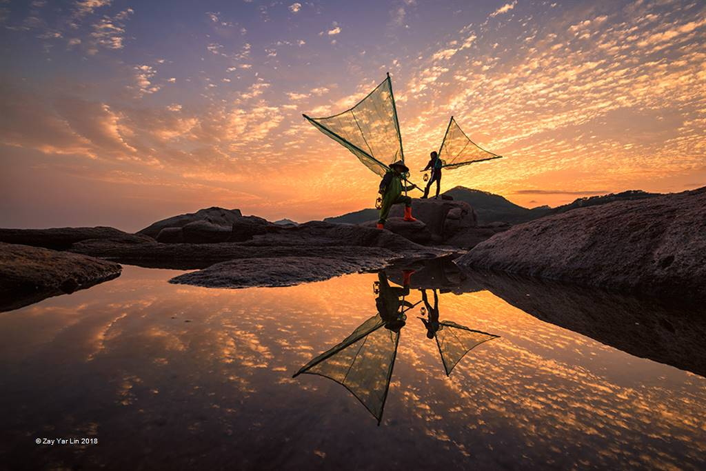 Zay Yar Lin – Fishermen at Golden Morning – Open Colour